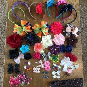 Girls Hair Bows Headbands Ties Dress Up Bundle